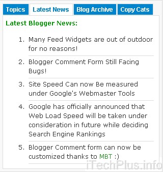 Advanced Multi Tabbed Widget For Blogger – Fully Widgetized!